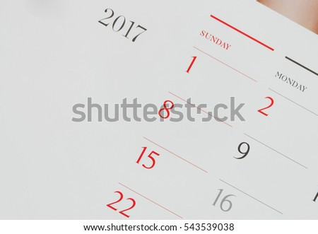 calendar page New year 2017 concept.Close up on 1 January