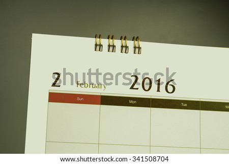 Calendar page of month 2016 - stock photo