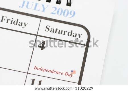Calendar page showing 4th of July American Independence day