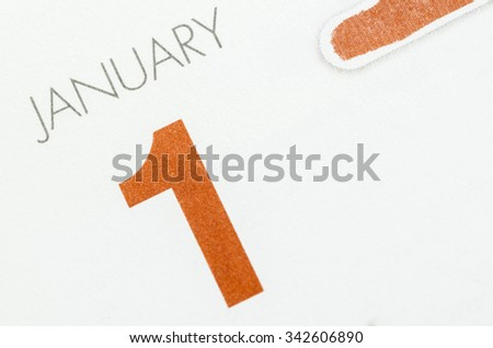Calendar page with marked date of 1st of January. - stock photo