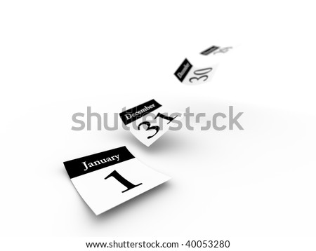 Calendar pages flying away.Computer generated concept. - stock photo