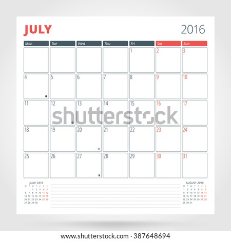Calendar Planner for 2016 Year. July. Design Print Template with Place for Photos and Notes. Week Starts Monday. Stationery Design - stock photo