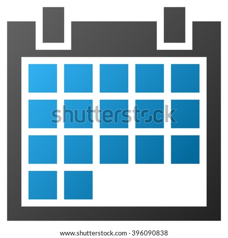 Calendar raster toolbar icon for software design. Style is gradient icon symbol on a white background.