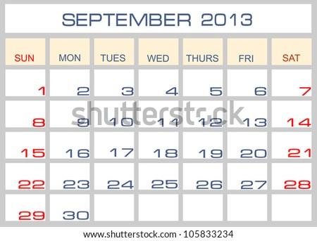calendar September 2013 - stock photo