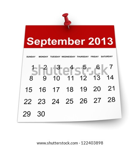 Calendar 2013 - September - stock photo