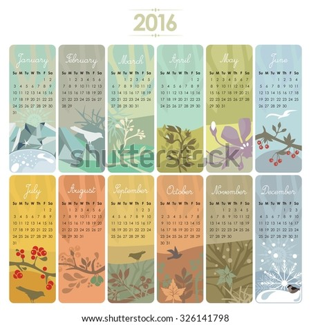 Calendar set for 2016 with vertical banners or cards. Week starts on Sunday.