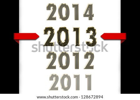 Calendar showing years 2011 2012 2012 2014 - stock photo