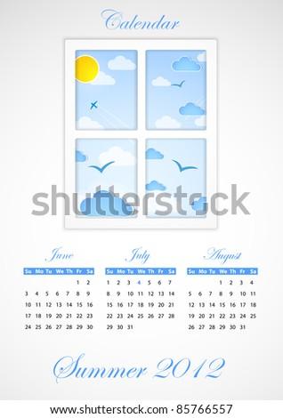 Calendar. Summer 2012 - stock photo