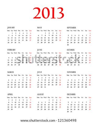 Calendar 2013. Template for your design - stock photo