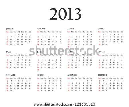 Calendar 2013. Template for your design. Weeks start on Sunday - stock photo