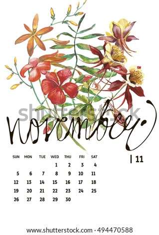 Calendar 2017. Templates with watercolor illustations.