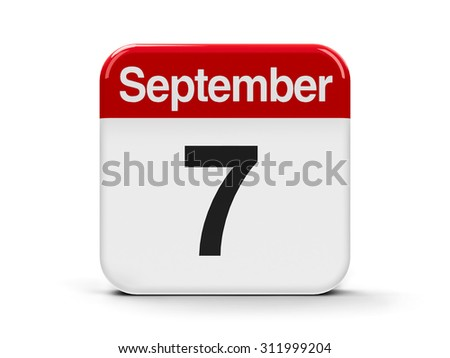 Calendar web button - The Seventh of September, three-dimensional rendering - stock photo