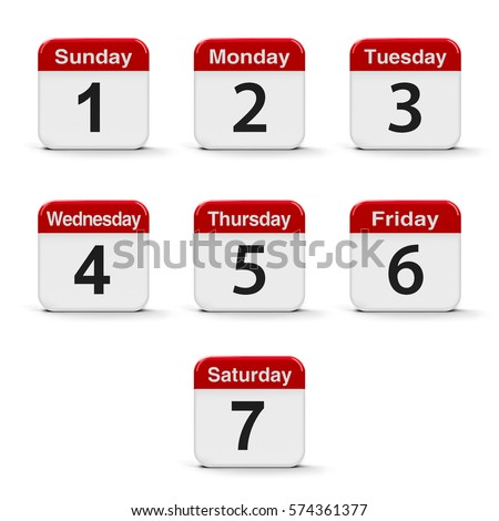 Calendar Days Of The Week Stock Images, Royalty-Free Images ...