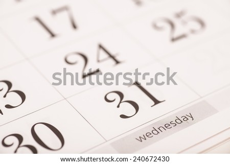 Calendar- Wednesday - stock photo