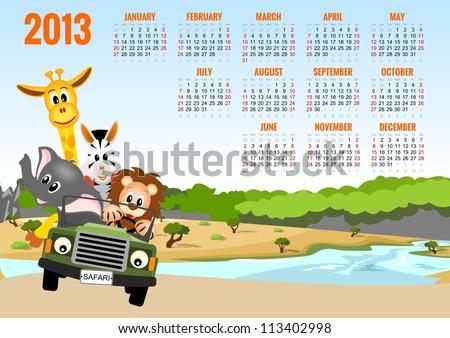 Calendar 2013 with animals - elephant, zebra, lion and giraffe - bitmap copy - stock photo