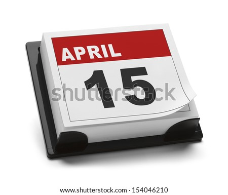 Calendar with April 15th Isolated on White Background. - stock photo