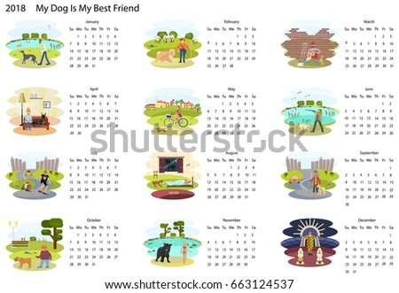 Calendar 2018 with cute set of dog and owner illustration in cartoon style. Isolated Rastered copy