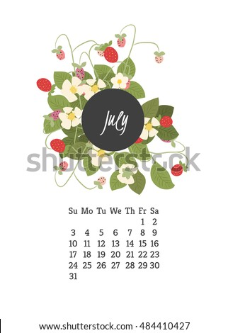 Calendar  with flowers strawberry for your design