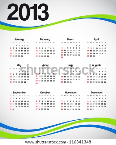 Calendar 2013 with green and blue decoration. Vector available.