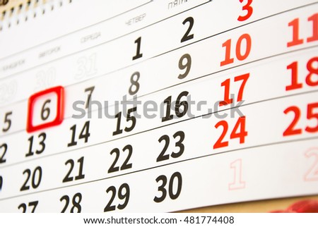 Calendar with red mark on 6 close up