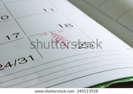 Calendar with Red Marked Christmas Day