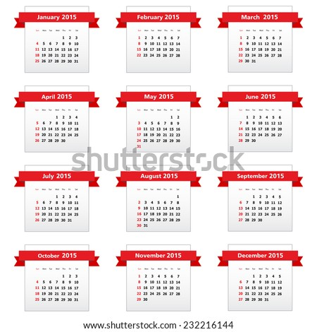 Calendar 2015 with red ribbons. Vector available. - stock photo