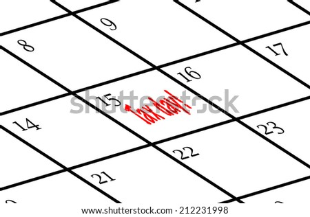 Calendar with tax day marked in red on the 15th - stock photo