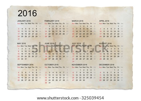 Calendar 2016 year on old paper background with clipping path. - stock photo