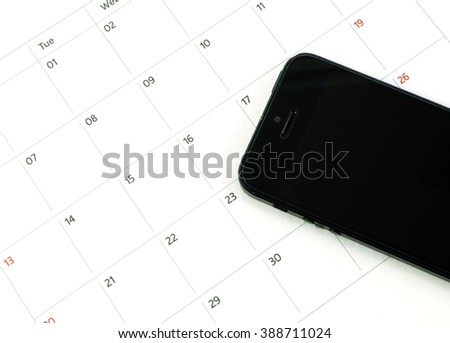 calender date and telephone in busiess concept  - stock photo
