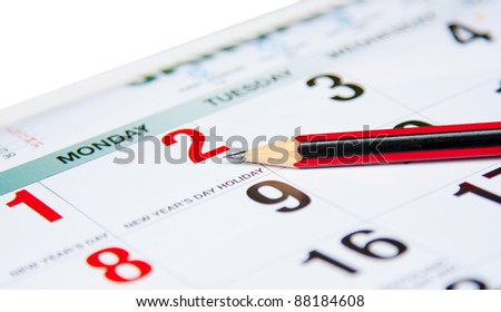 calender with pencil - stock photo