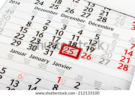 Calender with Red Marked Christmas Day