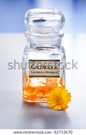 Calendula Officinalis flower and alcoholic plant extract in big glass bottle