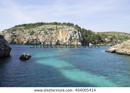 Cales Coves, a coastal corner with 90 excavated coves, which were used by the first inhabitants of Menorca as necropolis (9th-7th century BC). Near Alaior, Menorca, Balearic Islands - stock photo