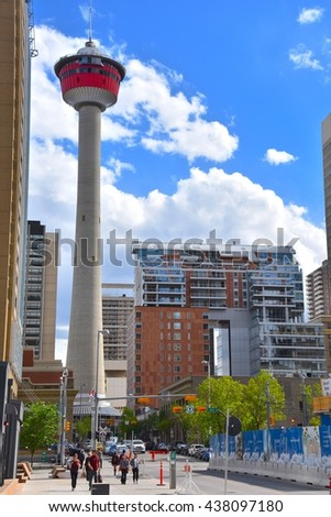 CALGARY, AB- MAY 29: Downtown Calgary on May 29 2016 in Calgary, AB. Calgary has prominent buildings in a variety of styles by many famous architects.