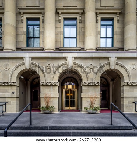 CALGARY, ALBERTA - MAR 15: The front facade of the McDougall School building on March 15, 2015 in Calgary, Alberta Canada. This old school building is now used as office space for the provincial govt. - stock photo