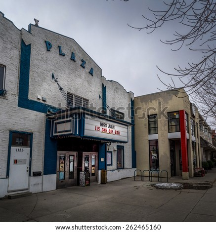 CALGARY, ALBERTA - MAR 15: The front facade of the Paza Theater on March 15, 2015 in Calgary, Alberta Canada. The Plaza is an historic movie house in the Kensington area of Calgary.  - stock photo