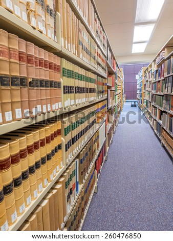 CALGARY, ALBERTA - MAR 7: The Law Library of the Faculty of Law at the University of Calgary om March 7, 2015 in Calgary, Alberta Canada.  This modern Law Library houses cases and statues of Canada.