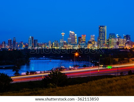 Calgary, Canada at night - stock photo