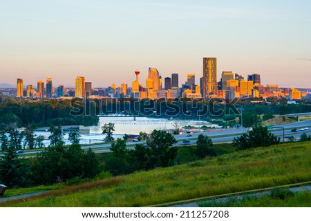 Calgary Canada at sunrise - stock photo