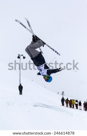 CALGARY CANADA JAN 2 2015. FIS Freestyle Ski World Cup, Winsport, Calgary Mr. Jimi Salone  from Finland  at the Mogul Free Style World Cup on race day.