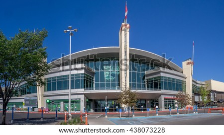 CALGARY, CANADA - JUNE 5: Entrance to Chinook Centre shopping mall on June 5, 2016 in Calgary, Alberta Canada. Chinook mall is one of the busiest malls in Alberta and Canada. - stock photo