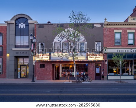 CALGARY, CANADA - May 23: Buildings in Calgary's Inglewood on May 23, 2015. It is known for trendy restaurants, nightlife, art galleries and upscale shops, all popular with locals and tourists. - stock photo