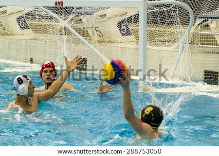 CALGARY, CANADA - MAY  29 2015: Calgary Torpedoes versus Mavericks-playing for the Canadian National Finals at Calgary Talisman Center. The teams are one of the best in Canada Boys age 16.      - stock photo
