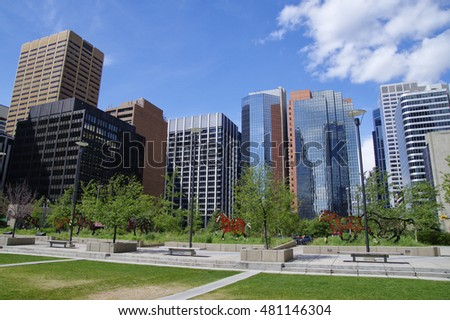 CALGARY, CANADA - MAY 26: Modern Downtown view taken on May 26, 2016 in Calgary, Alberta Canada.
