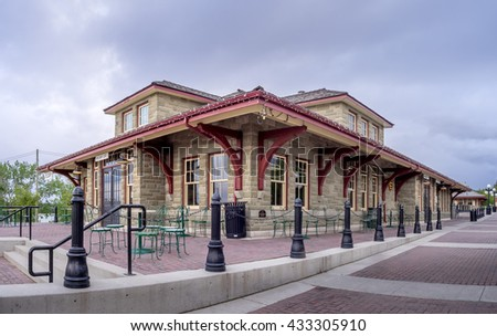 """CALGARY, CANADA - MAY 29: Old train station at Calgary's living museum """"Heritage Park"""" on May 29, 2016 in Calgary, Alberta Canada. Heritage Park is a western and pioneer themed museum. - stock photo"""