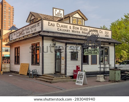 CALGARY, CANADA - MAY 24: The Buffalo Cafe on May 24, 2015 in Calgary, Alberta Canada. The Buffalo Cafe is housed in an historic lumber company building in Calgary's Eau Claire Market district. - stock photo