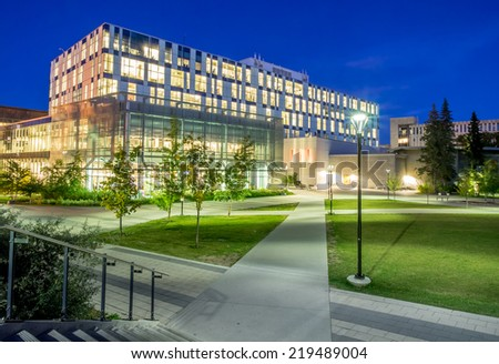 CALGARY, CANADA - SEPT 19: The Taylor Family Digital Library at the University of Calgary on September 19, 2014 in Calgary, Alberta. The Taylor Family Digital Library is a high tech library complex. - stock photo