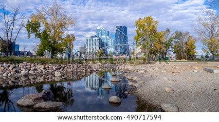 Calgary downtown as viewed from St. Patrick's Island at East Village.