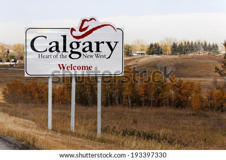 CALGARY -�� OCTOBER 12: A sign marks the city limits of Calgary, Alberta on October 12, 2012. Banff National Park is Canada�s oldest national park and one of Canada�s most popular tourist destinations. - stock photo