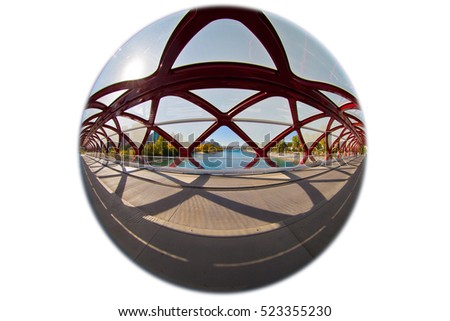 Calgary Peace Bridge Showing Two Exits Stock Photo Royalty Free